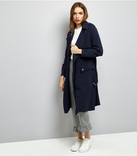 Navy Soft Belted Military Trench Coat | New Look