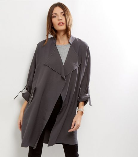 Dark Grey Waterfall Duster Coat  | New Look