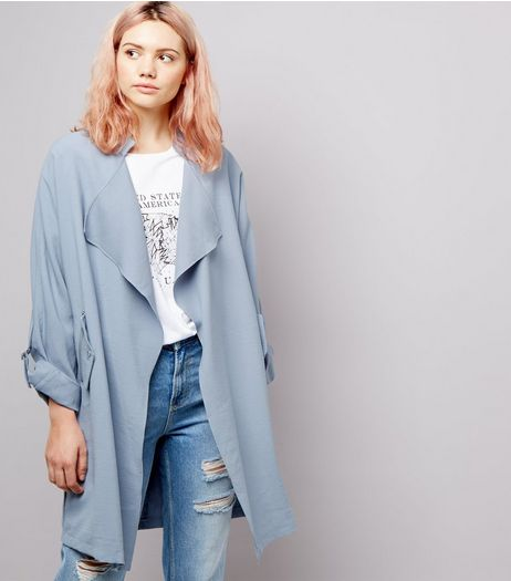 Pale Blue Waterfall Duster Coat | New Look