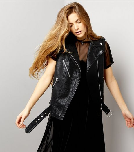 Black Leather Look Sleeveless Biker Jacket | New Look