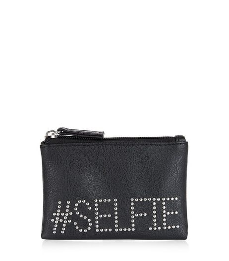 Black Selfie Studded Purse | New Look