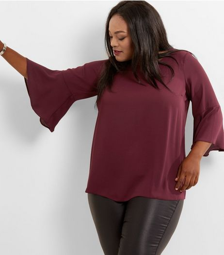Curves Burgundy Bell Sleeve Top  | New Look