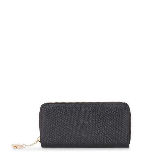 Black Snakeskin Print Charm Zip Around Purse | New Look