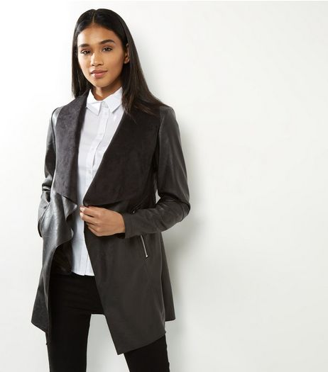Black Leather-Look Longline Waterfall Jacket  | New Look
