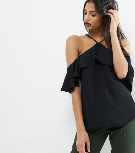 Black Frill Trim Halter Neck Cold Shoulder Top  | New Look