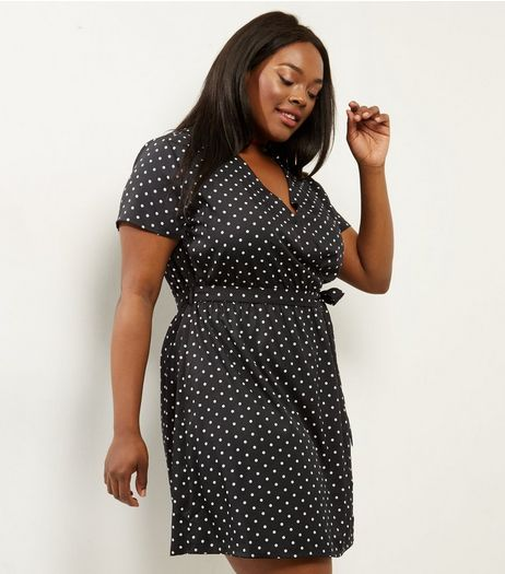 Curves Black Spot Print Wrap Front Dress | New Look