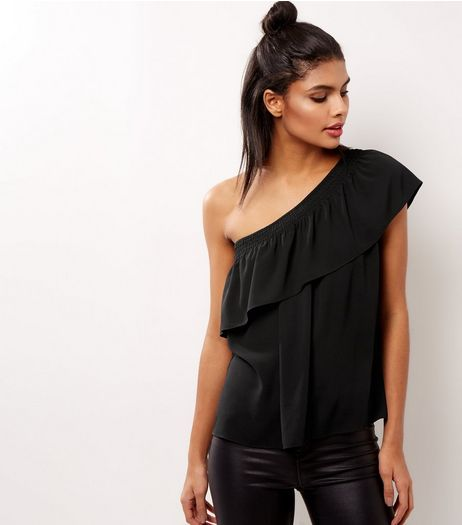 Black Off The Shoulder Frill Trim Top | New Look