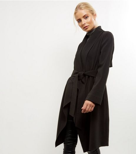 Black Waterfall Belted Duster Coat  | New Look