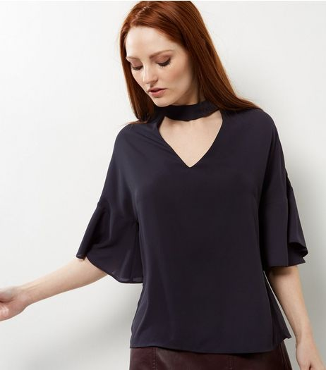 Black Choker Neck Batwing Sleeve Top  | New Look
