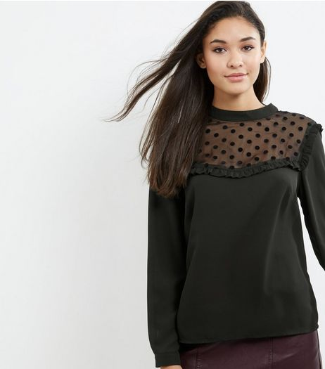 Black Mesh Spot Print Frill Trim Top | New Look