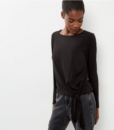 Black Long Sleeve Tie Front Top  | New Look