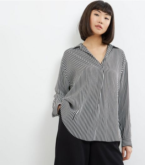 Black Stripe Long Sleeve Shirt  | New Look
