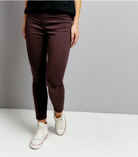Burgundy Emilee Jeggings  | New Look