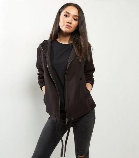 Black Hooded Drawstring Hem Bomber Jacket | New Look