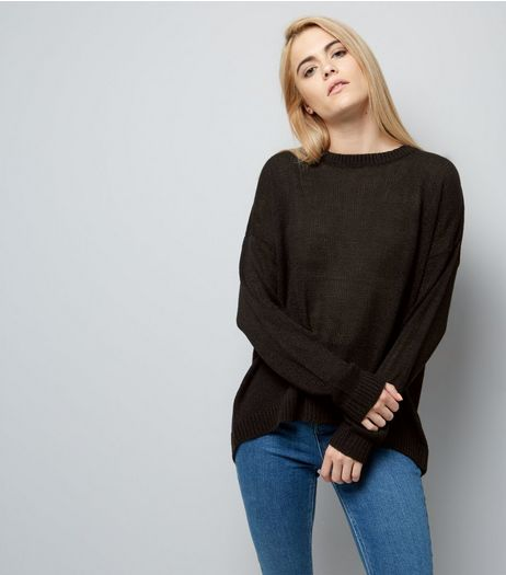 Black Wrap Back Jumper | New Look
