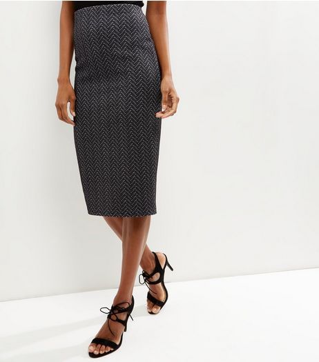 Black Zig Zag Pencil Skirt | New Look