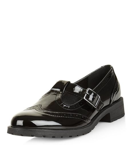 Teens Black Patent Mary Jane School Pumps | New Look