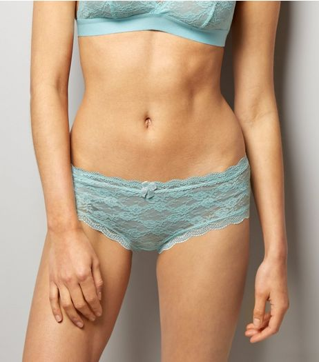 Mint Green Lace Short Briefs | New Look