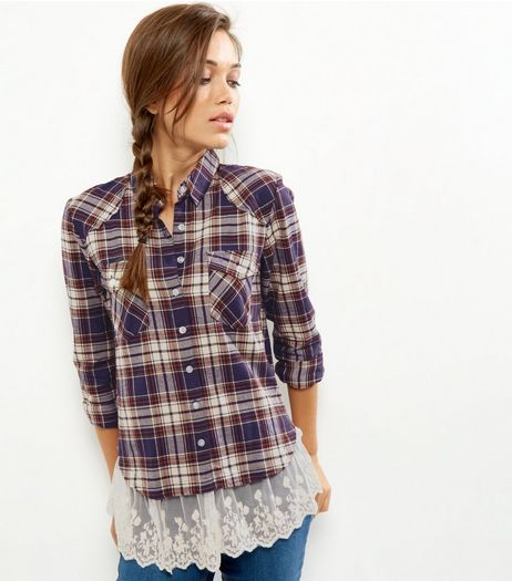 Blue Check Print Layered Shirt | New Look