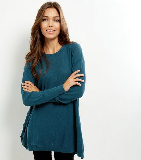 Blue Oversized Split Side Jumper | New Look