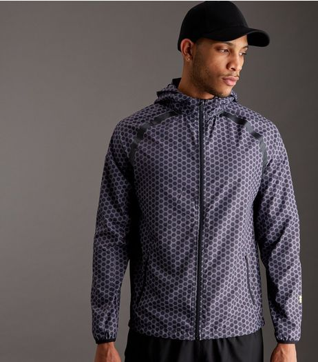 Black Honeycomb Print Hooded Running Jacket | New Look