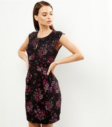 Apricot Purple Abstract Print Keyhole Front Dress | New Look