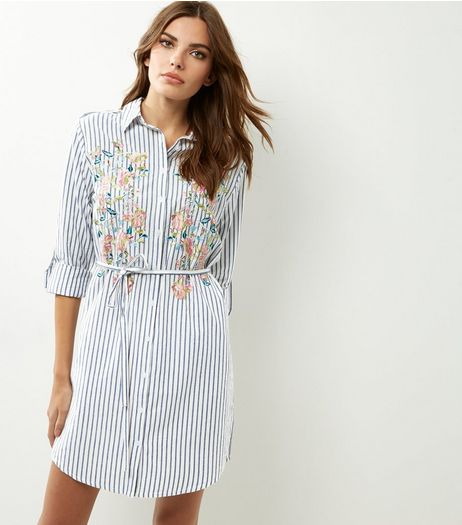 White Stripe Floral Embroidered Longline Shirt | New Look
