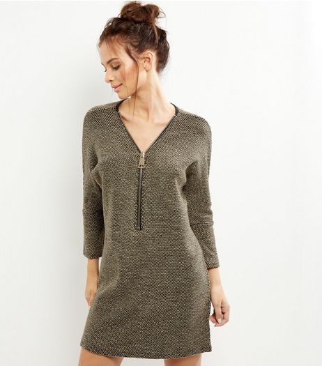 Apricot Black Zip Front Dress | New Look