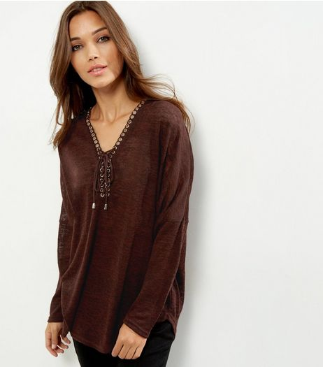 Burgundy Lace Up Long Sleeve Top | New Look