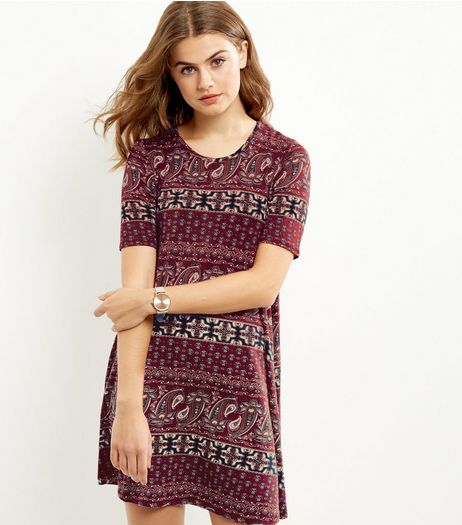 Apricot Red Paisley Print Dress | New Look