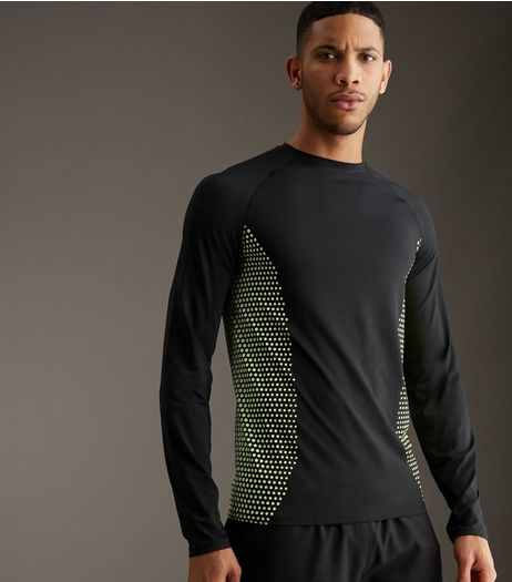Black Honeycomb Print Sports Long Sleeved T-Shirt | New Look