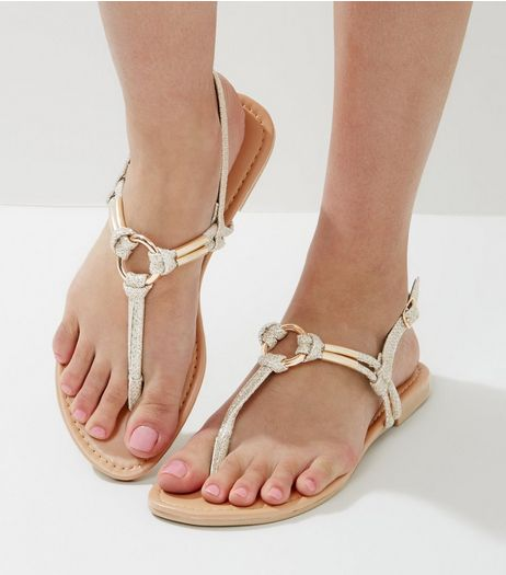 Gold Glitter Metal Ring Toe Post Sandals | New Look
