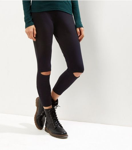 Black Ripped Knee Leggings | New Look