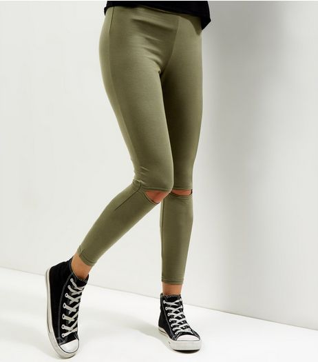 Olive Green Ripped Knee Leggings | New Look