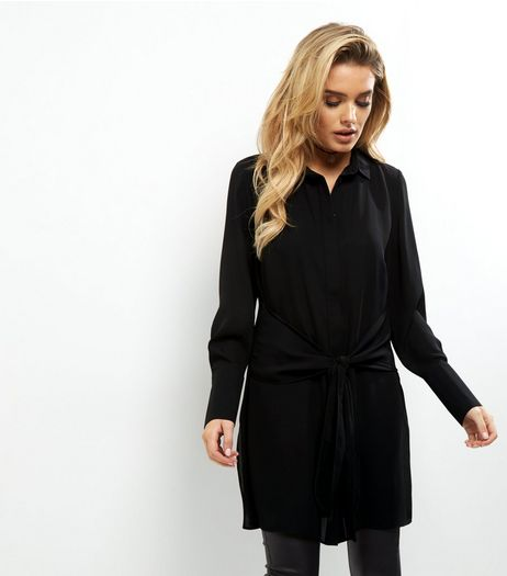 Black Tie Front Longline Shirt  | New Look