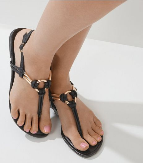 Black Metal Ring Toe Post Sandals | New Look