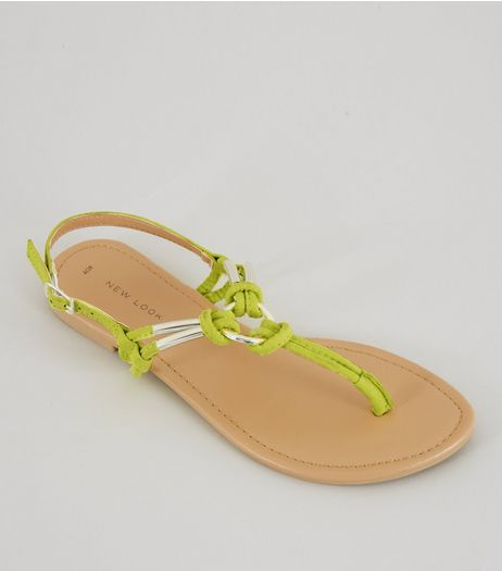 Neon Green Metal Ring Toe Post Sandals | New Look