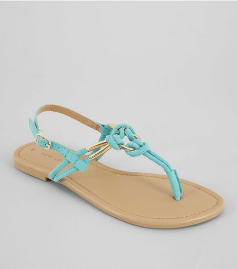 Bright Blue Metal Ring Toe Post Sandals | New Look