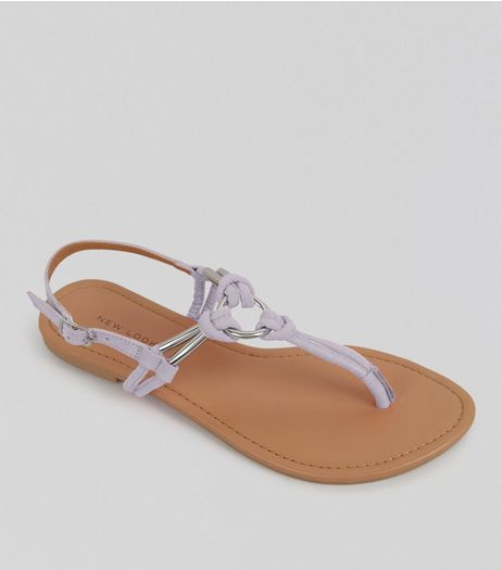 Lilac Metal Ring Toe Post Sandals | New Look