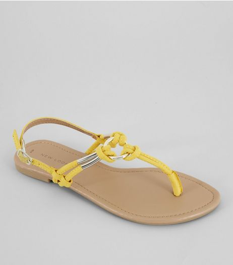 Yellow Metal Ring Toe Post Sandals | New Look