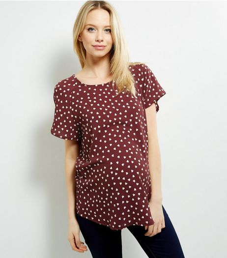 Maternity Red Heart Print Flutter Sleeve Top | New Look