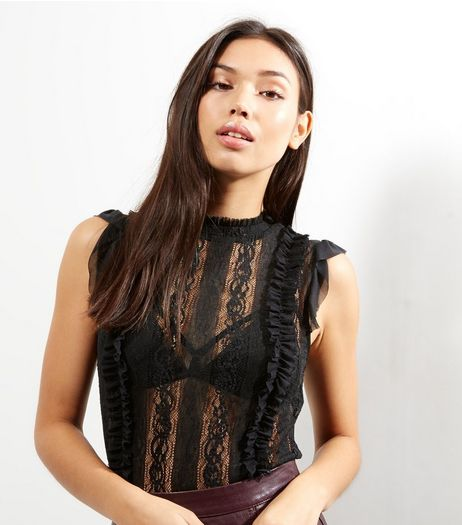 Black Lace Mesh Sleeveless Top  | New Look