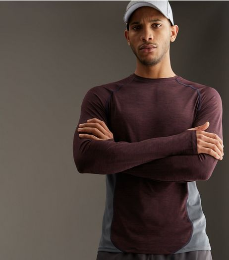 Burgundy Contrast Panel Long Sleeve Sports T-Shirt | New Look