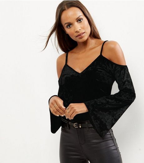 Black Velvet Bell Sleeve Cold Shoulder Top  | New Look