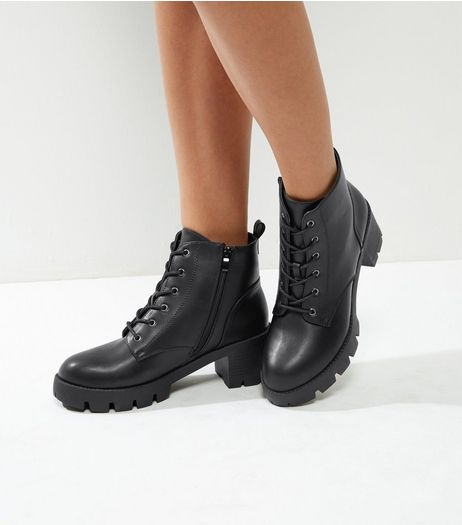 Black Lace Up Boots | New Look