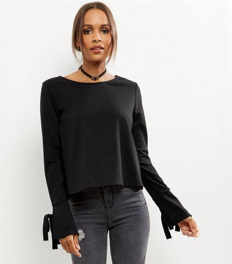 Black Bell Tie Sleeve Top | New Look