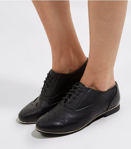 Wide Fit Black Metal Trim Brogues | New Look