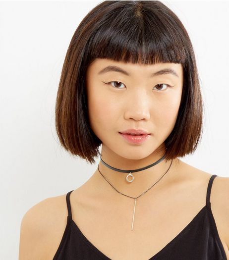 2 Back Black Cirle Bar Chokers | New Look