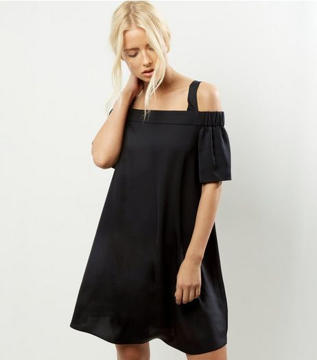 Black Sateen Bardot Neck Cold Shoulder Dress | New Look