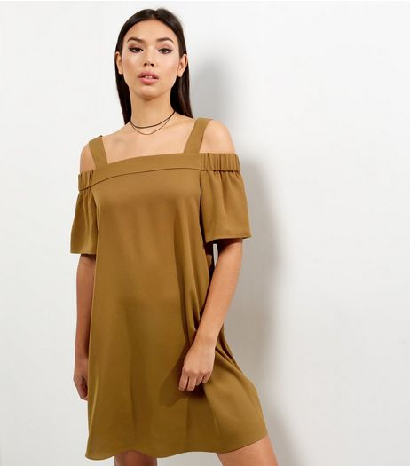 Olive Green Sateen Bardot Neck Dress | New Look